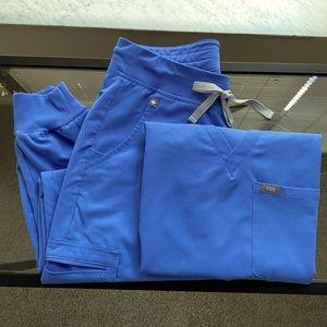 FIGS SCRUBS ceil blue Zamora pant Catarina top